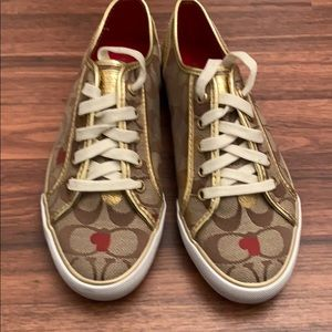 Women's heart covered coach sneakers